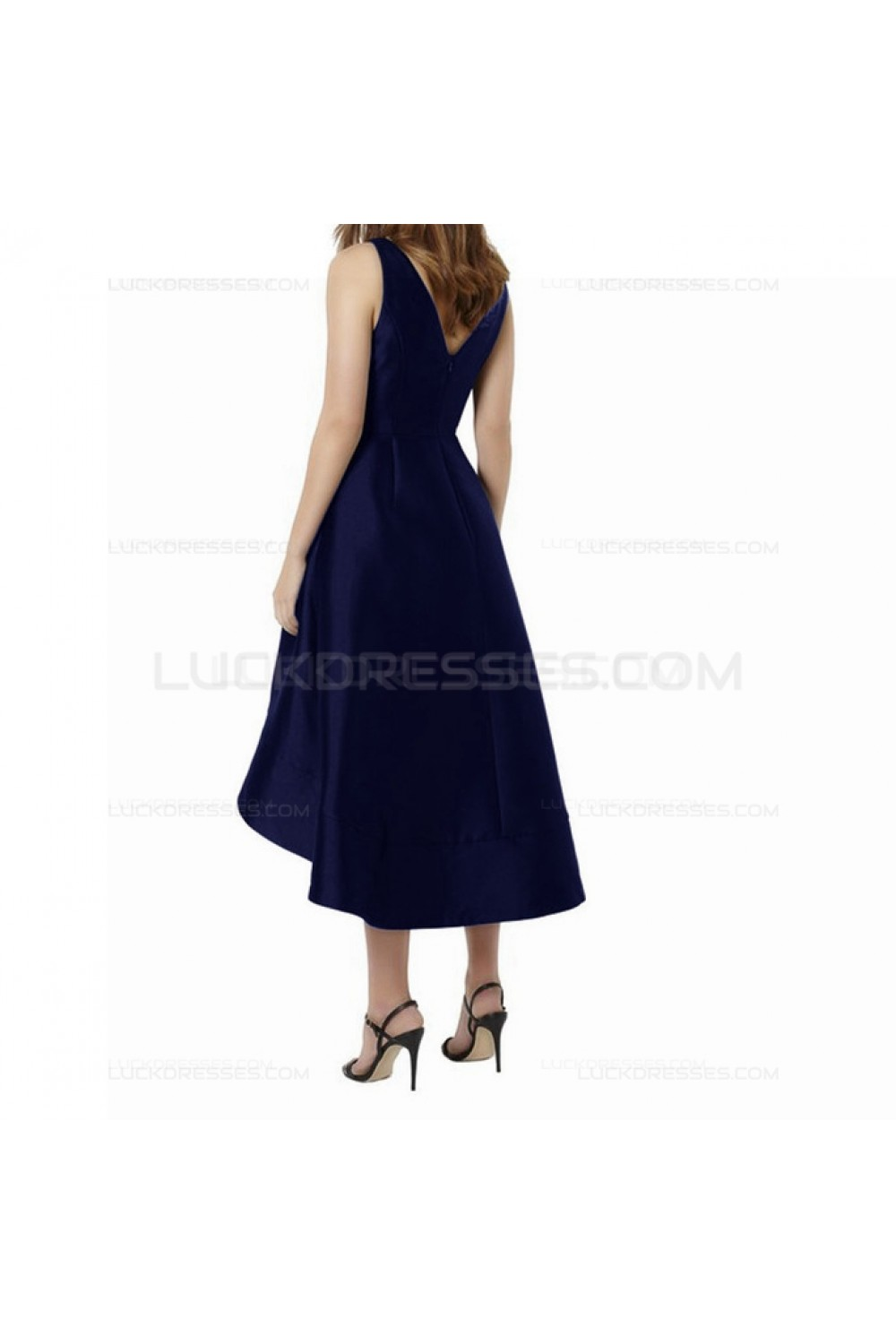 High Low V Neck Navy Wedding Guest Dresses Bridesmaid Dresses 3010231