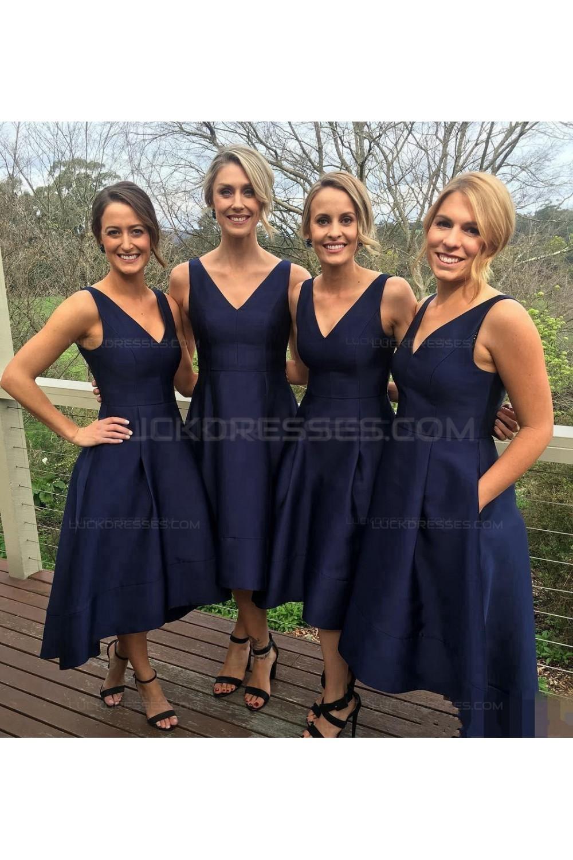 High Low V Neck Navy Wedding Guest Dresses Bridesmaid Dresses 3010231