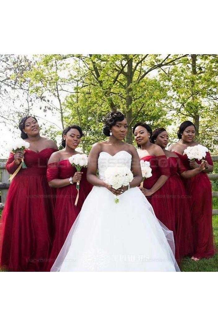 3/4 Length Sleeve Burgundy Plus Size Wedding Guest Dresses Bridesmaid Dresses 3010232