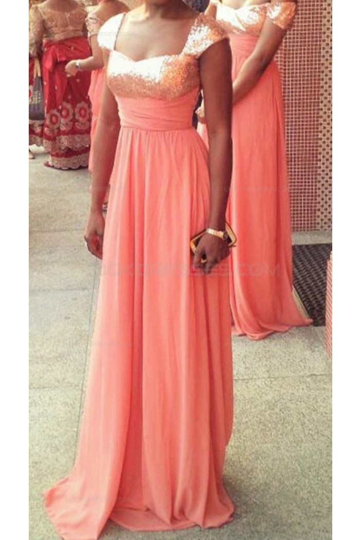 Long Coral Sequins Chiffon Wedding Guest Dresses