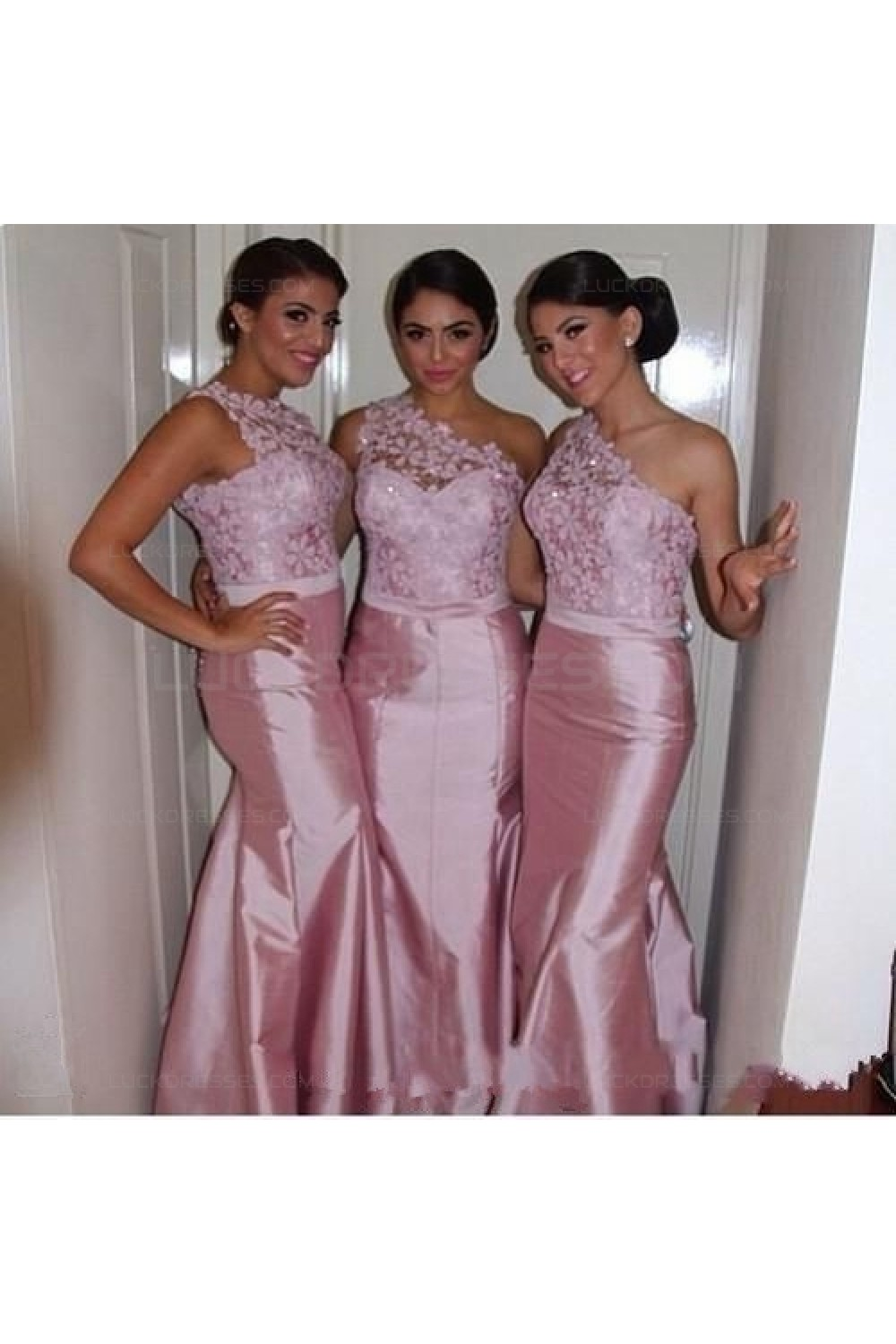 Mermaid One Shoulder Lace Taffeta Long Pink Wedding Guest Dresses Bridesmaid Dresses 3010243