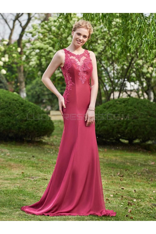 A-Line Lace Chiffon Long Wedding Guest Dresses Bridesmaid
