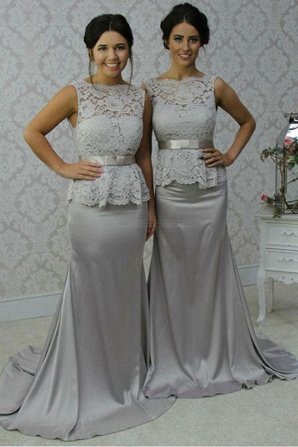 Long Silver Mermaid Lace Wedding Guest Dresses Bridesmaid Dresses ...
