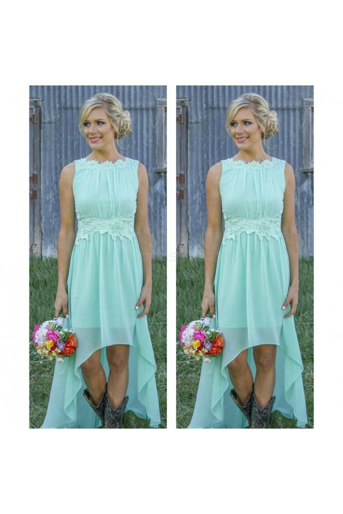 High Low Lace Chiffon Wedding Guest Dresses Bridesmaid Dresses 3010252