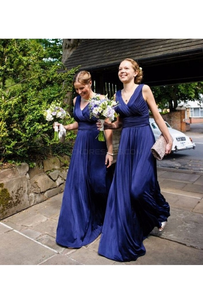 Long Blue V-Neck Wedding Guest Dresses Bridesmaid Dresses 3010254