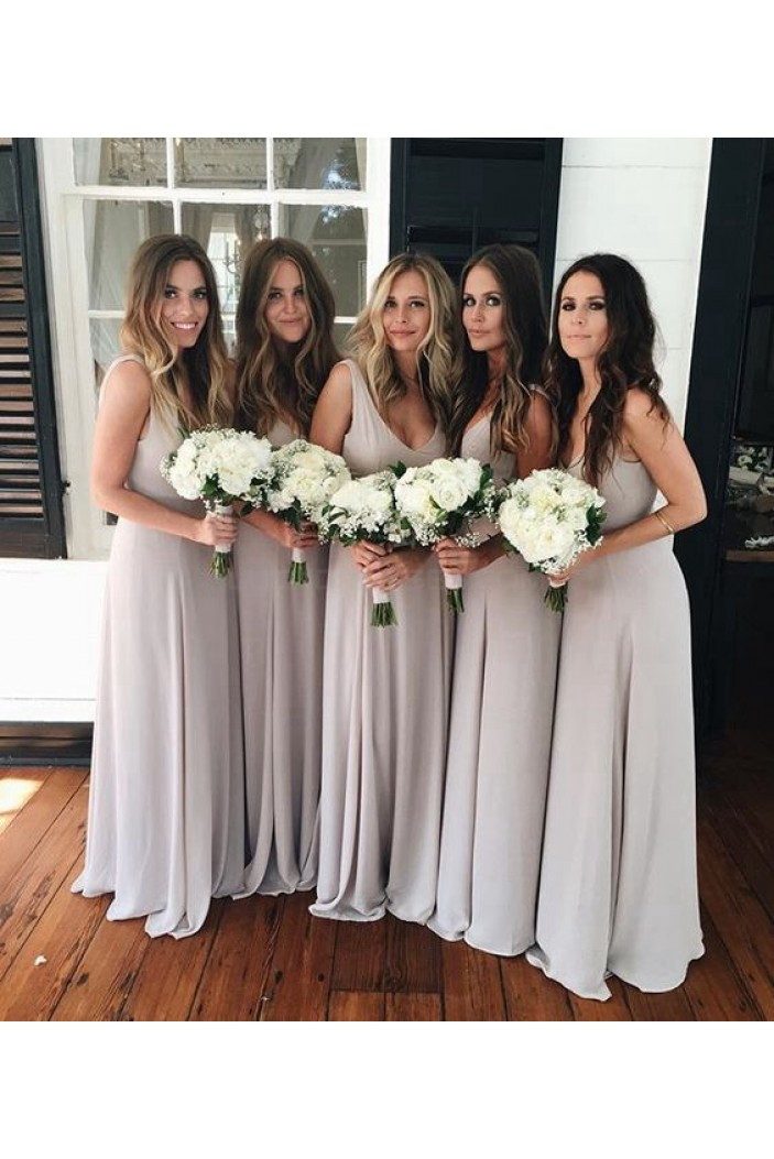 Long V-Neck Wedding Guest Dresses Bridesmaid Dresses 3010255