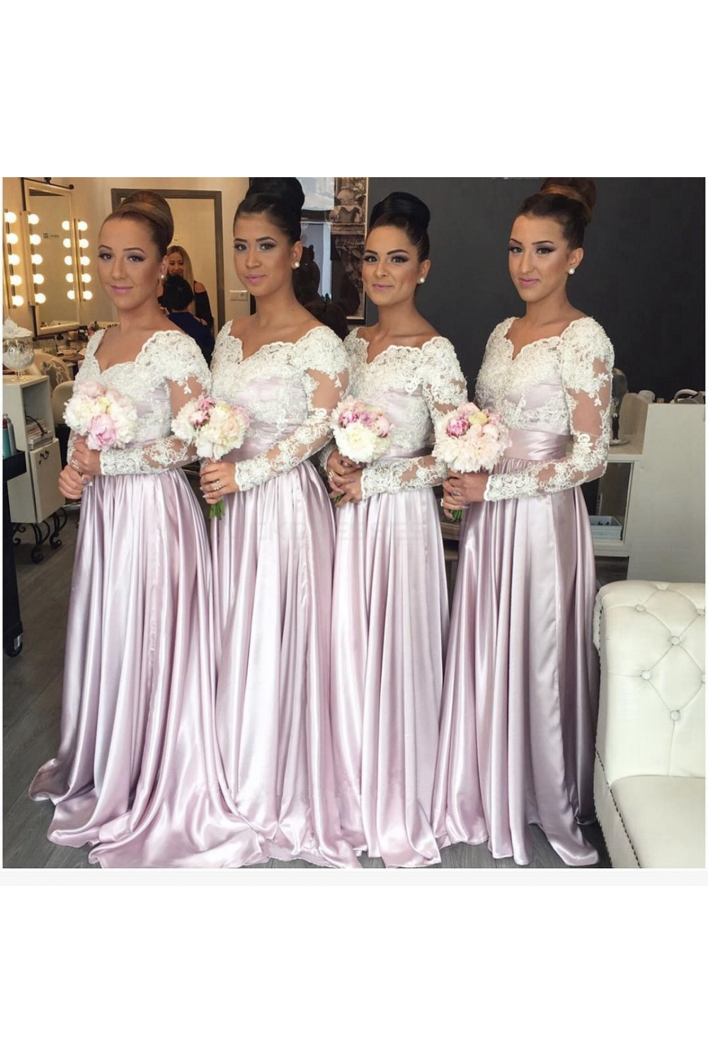 88093f9bb76 Long Sleeves Lace Wedding Guest Dresses Bridesmaid Dresses ...