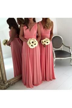 Long Chiffon V-Neck Wedding Guest Dresses Bridesmaid Dresses 3010258