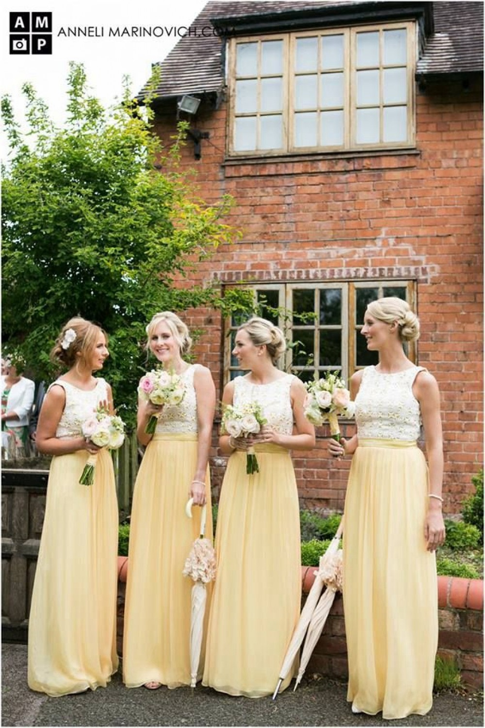 Long Yellow White Lace Wedding Guest Dresses Bridesmaid 3010260