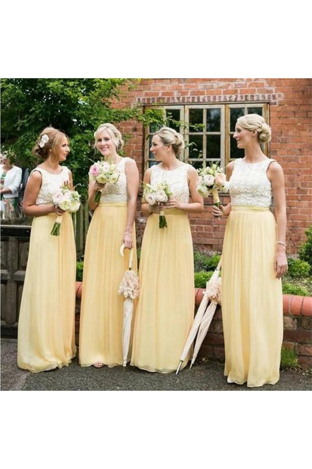 affd1239716 Long Yellow White Lace Wedding Guest Dresses Bridesmaid Dresses ...