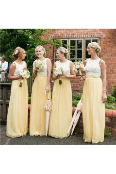 Long Yellow White Lace Wedding Guest Dresses Bridesmaid Dresses 3010260