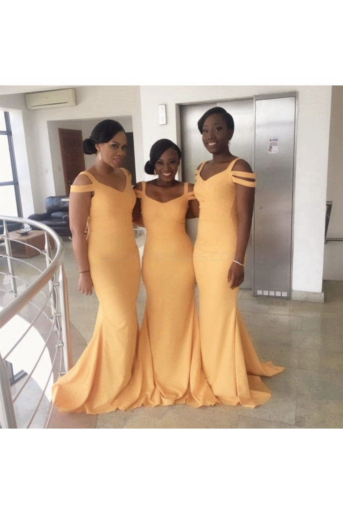 Long Yellow Mermaid Wedding Guest Dresses Bridesmaid Dresses 3010262