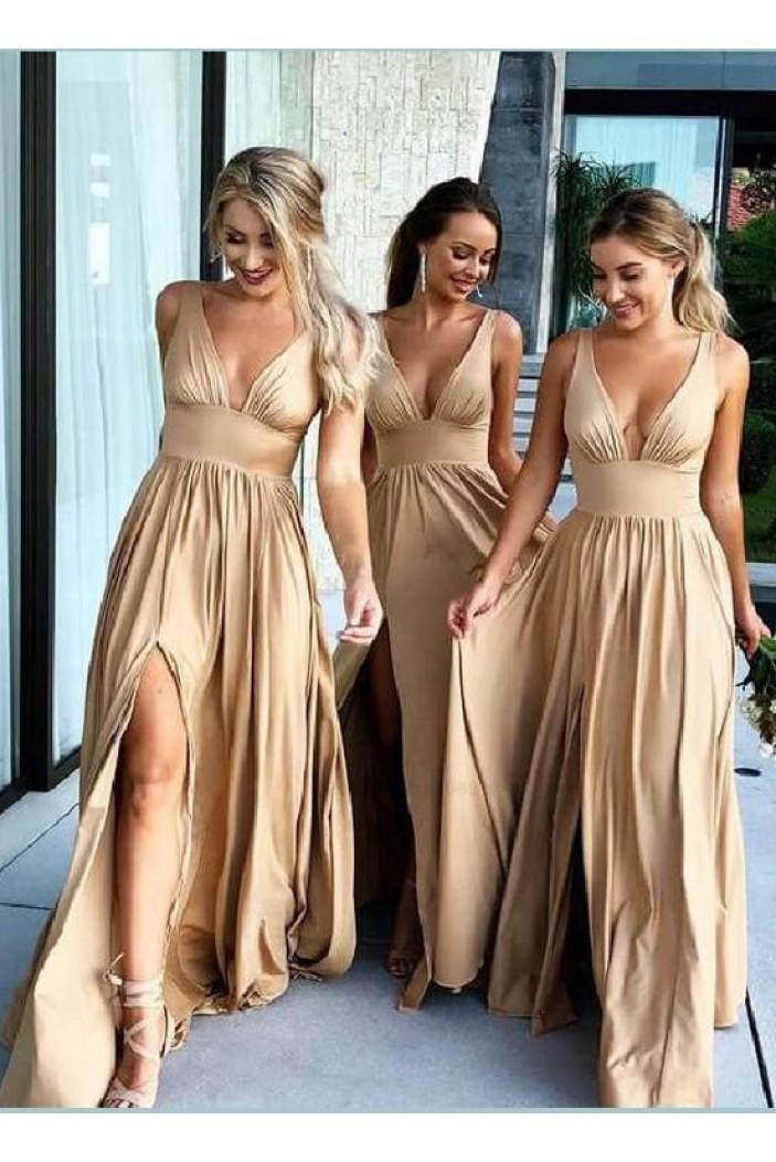 A-Line Floor Length V-Neck Long Bridesmaid Dresses with Slit 3010275