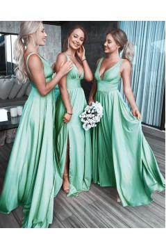 A-Line Floor Length V-Neck Long Bridesmaid Dresses with Slit 3010279