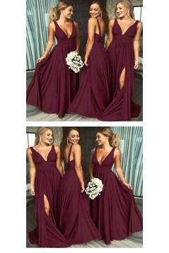 A-Line Floor Length V-Neck Long Bridesmaid Dresses with Slit 3010280