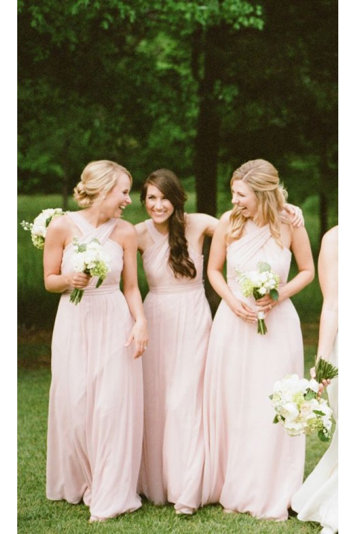 A-Line Long Pink Bridesmaid Dresses 3010304