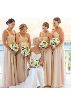 A-Line One-Shoulder Empire Chiffon Long Bridesmaid Dresses Maternity Dresses 3010323