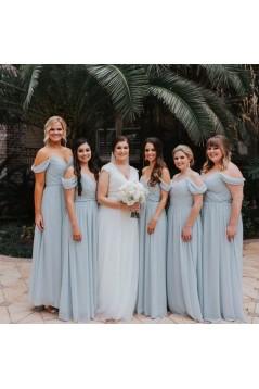 A-Line Chiffon Off-the-Shoulder Long Bridesmaid Dresses 3010335