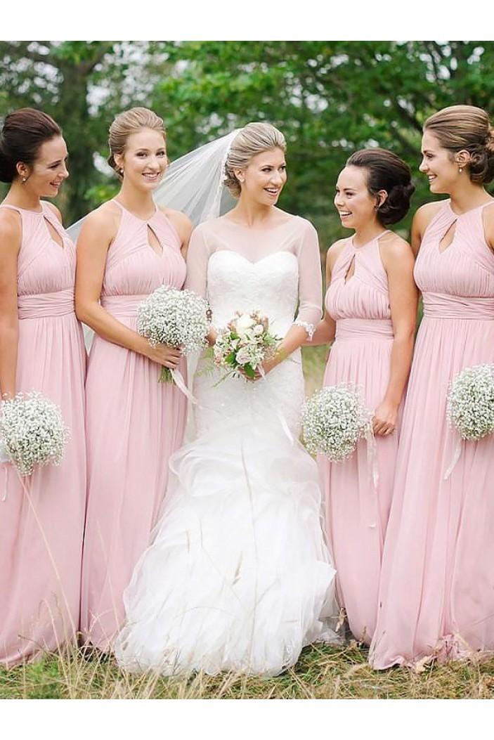 A-Line Long Pink Floor Length Bridesmaid Dresses 3010409