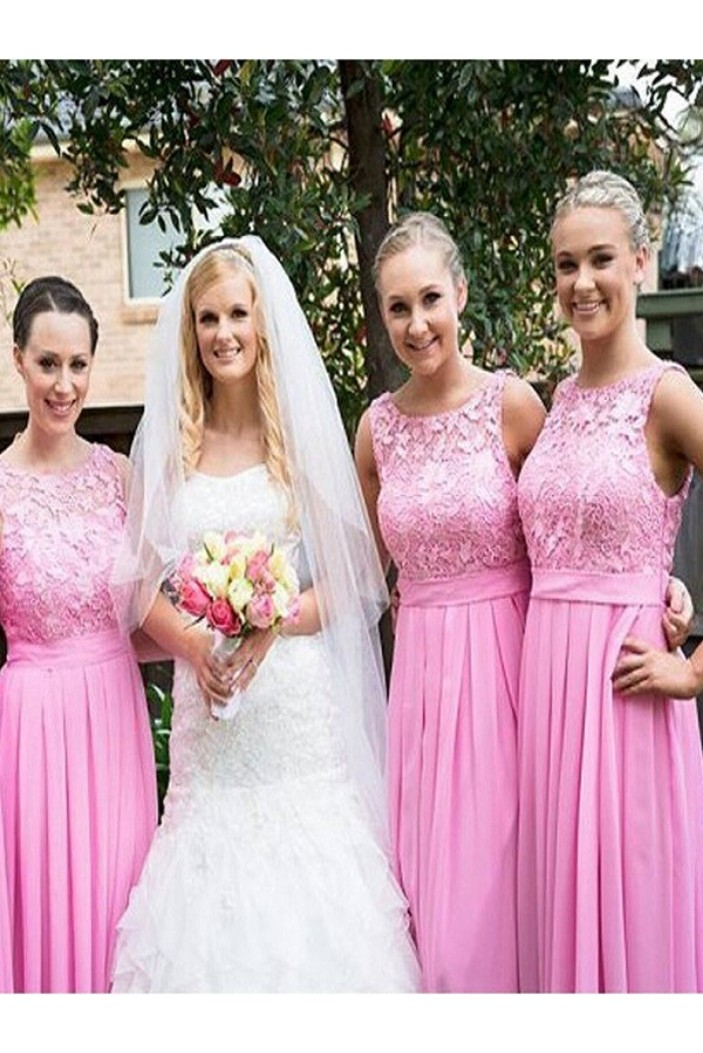A-Line Lace and Chiffon Long Pink Floor Length Bridesmaid Dresses 3010416