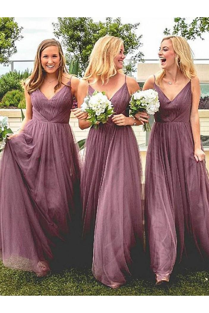 A-Line V-Neck Floor Length Bridesmaid Dresses 3010433