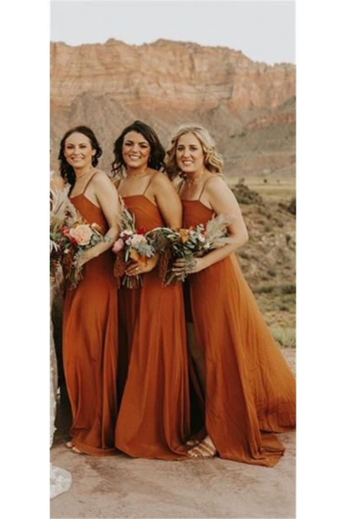 A-Line Spaghetti Straps Floor Length Bridesmaid Dresses 3010447