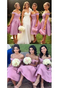 A-Line Off-the-Shoulder Knee Length Bridesmaid Dresses 3010459