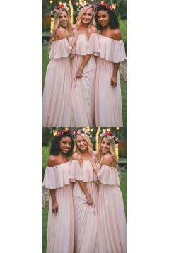Long Pink Chiffon Floor Length Bridesmaid Dresses 3010460