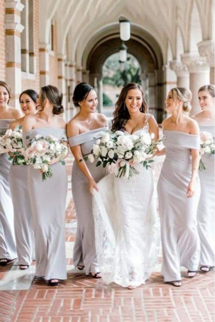 Sheath Off-the-Shoulder Floor Length Bridesmaid Dresses 3010462