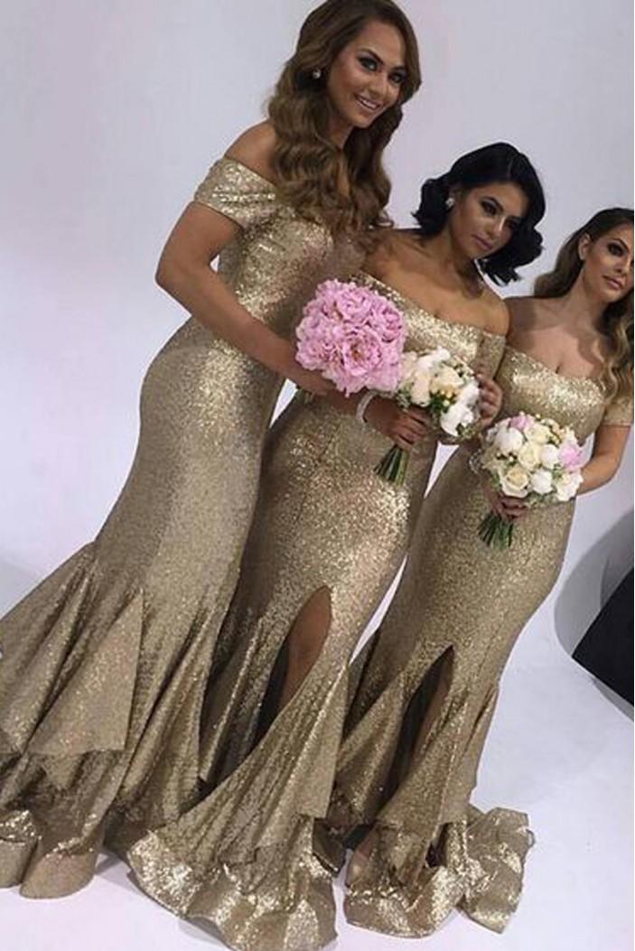 Mermaid Sequins Off-the-Shoulder Long Floor Length Bridesmaid Dresses 3010465