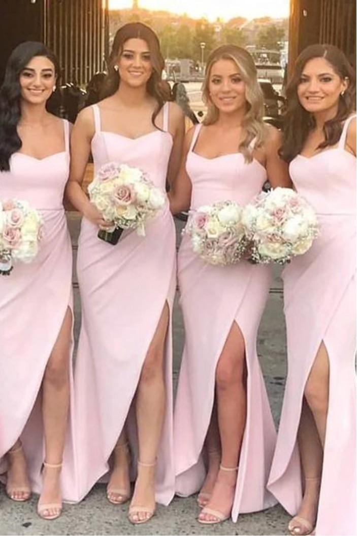 Sheath Long Pink Floor Length Bridesmaid Dresses 3010467