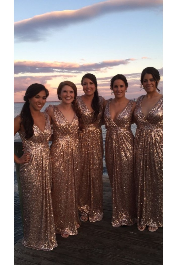 Sheath/Column Sequins V-Neck Floor Length Bridesmaid Dresses 3010469