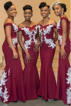 Mermaid Off-the-Shoulder Lace Floor Length Bridesmaid Dresses 3010477