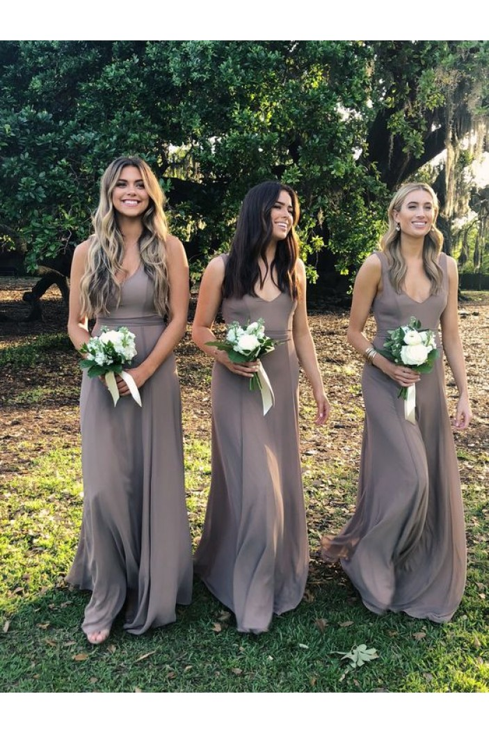 A-Line V-Neck Floor Length Bridesmaid Dresses 3010479