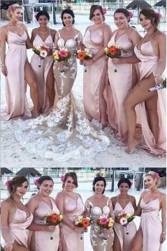 Sexy High Slit Spaghetti Straps Floor Length Bridesmaid Dresses 3010486