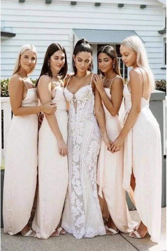 Simple Spaghetti Straps Floor Length Bridesmaid Dresses 3010494
