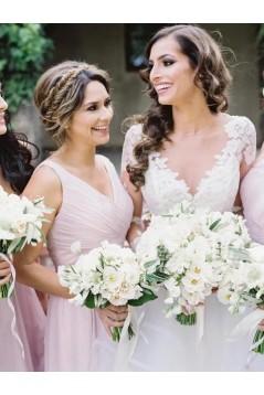 A-Line Long Chiffon Floor Length Bridesmaid Dresses 3010495