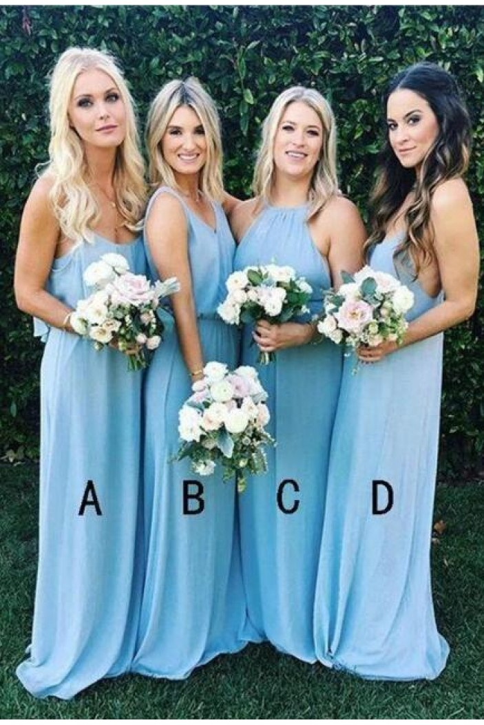 Sheath Long Chiffon Floor Length Bridesmaid Dresses 3010499
