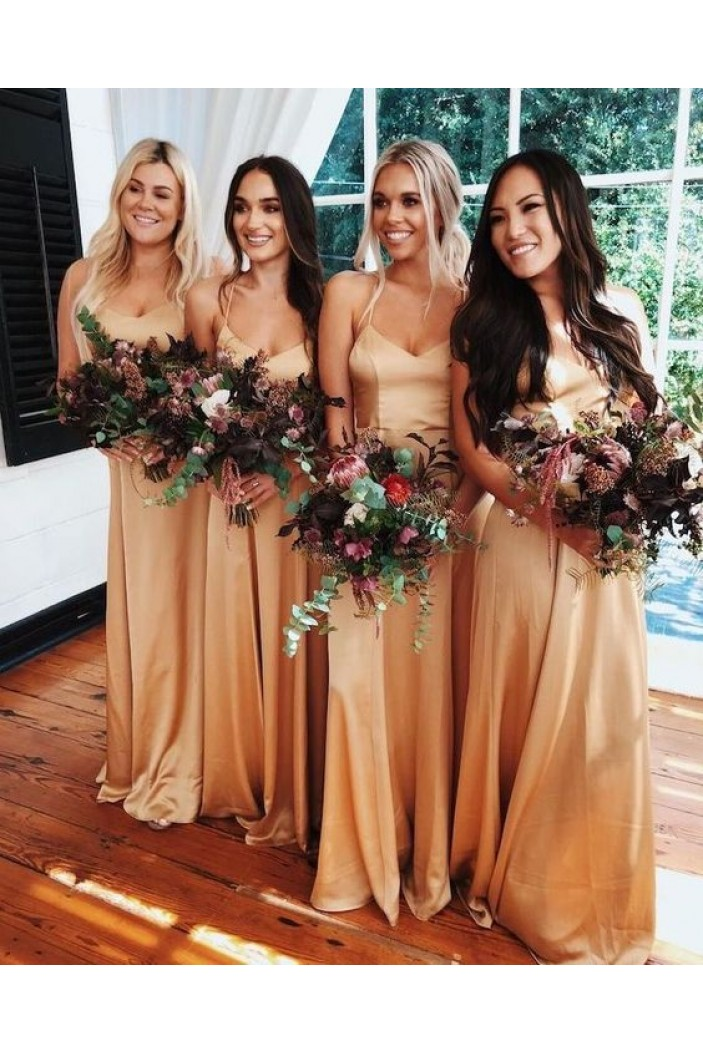 Affordable Long Spaghetti Straps Floor Length Bridesmaid Dresses 3010503