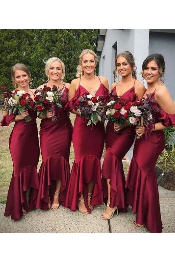Mermaid V-Neck Spaghetti Straps Floor Length Bridesmaid Dresses 3010504