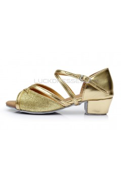 Women's Kids' Gold Sparkling Glitter Sandals Flats Latin Dance Shoes D601001