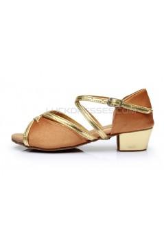 Women's Kids' Brown Satin Sandals Flats Latin Dance Shoes Chunky Heels Dance Shoes D601002