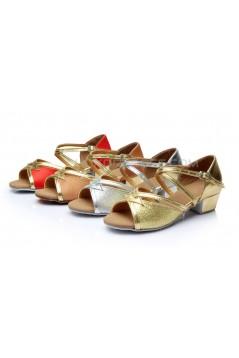 Women's Kids' Silver Sparkling Glitter Sandals Flats Latin Dance Shoes Chunky Heels Dance Shoes D601003