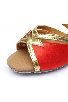 Women's Kids' Red Satin Sandals Flats Latin Dance Shoes Chunky Heels Dance Shoes D601004