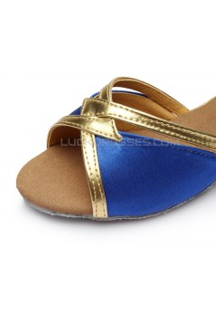 Women's Kids' Blue Satin Sandals Flats Latin Dance Shoes Chunky Heels Dance Shoes D601005