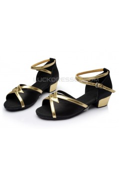 Women's Kids' Black Satin Sandals Flats Latin Dance Shoes Chunky Heels Dance Shoes D601006