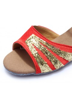 Women's Kids' Red Satin Gold Sparkling Glitter Flats Sandals Latin Dance Shoes Flower Girl Shoes D601007