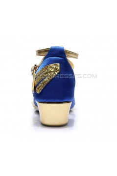 Women's Kids' Blue Satin Gold Sparkling Glitter Flats Sandals Latin Dance Shoes Flower Girl Shoes D601008