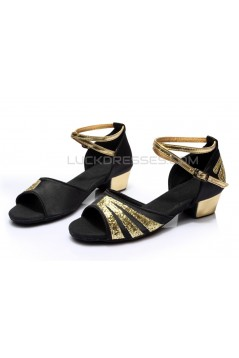 Women's Kids' Black Satin Gold Sparkling Glitter Flats Sandals Latin Dance Shoes Flower Girl Shoes D601009