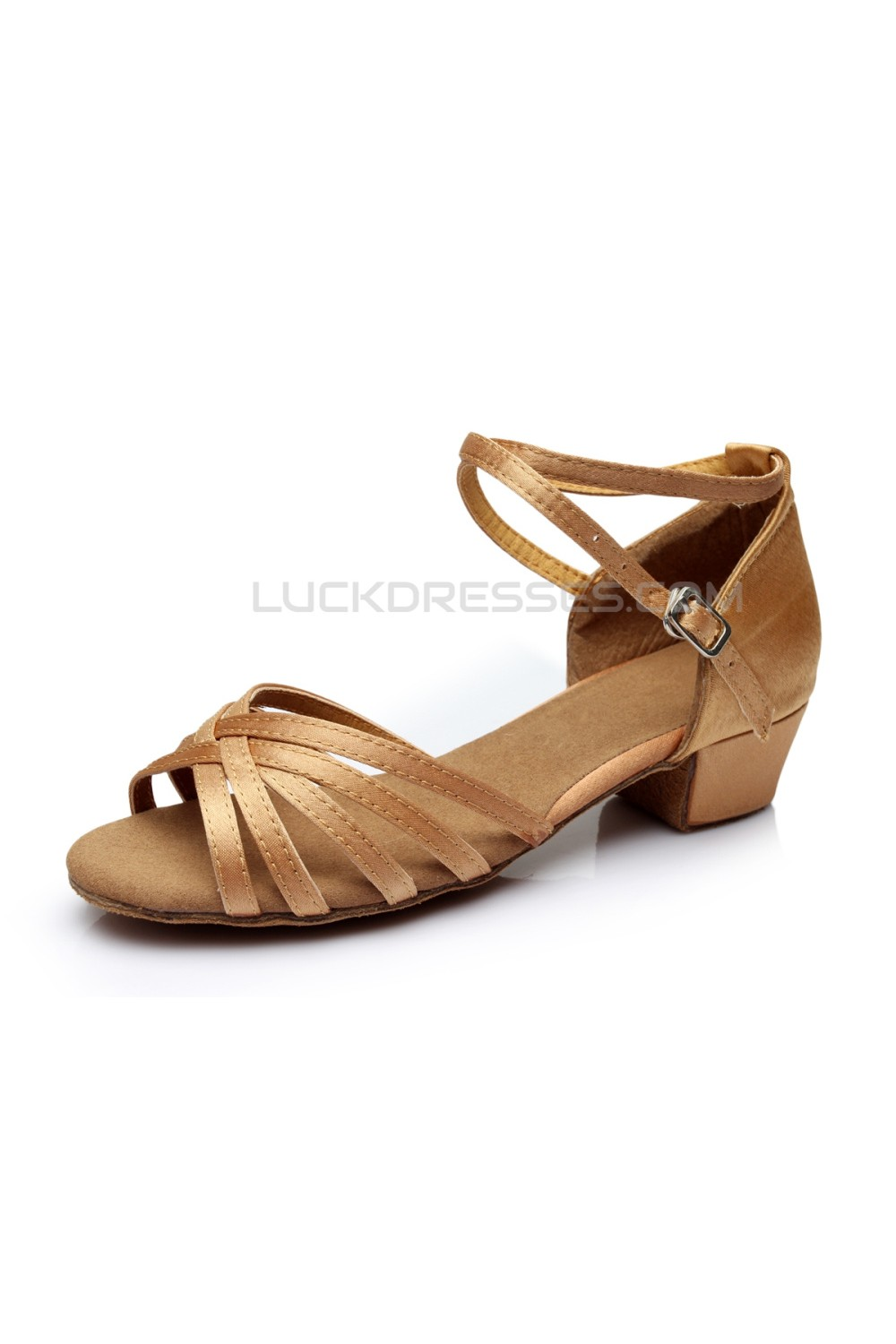 Women s Kids  Heels Sandals Latin With Ankle Strap Nude Satin Dance Shoes  D601013 02e8e32a45